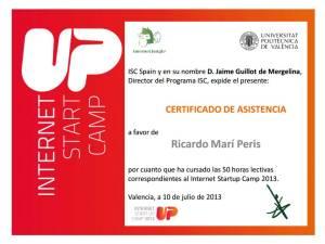 Certificado de asistencia al ISC Spain
