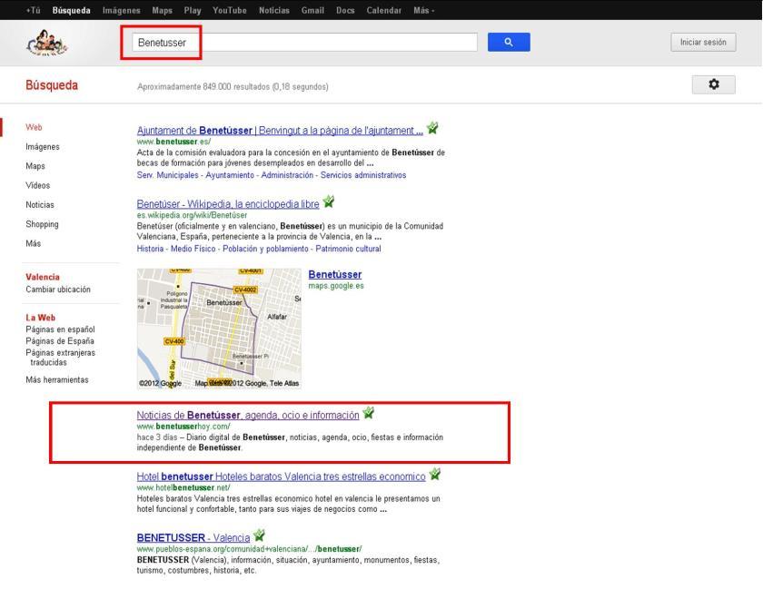 Google Benetússer Hoy